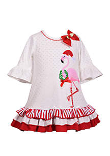 Baby Girls Flamingo Holiday Bubble Dress