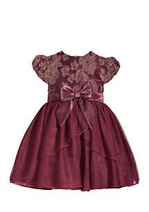 Toddler Girls Peplum Embroidered Social Dress