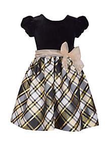 Toddler Girls Short Sleeve Gold Black Taffeta Dress
