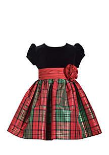 Toddler Girls Red Green Taffeta Dress