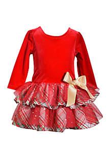 Toddler Girls Drop Waist Overlay Taffeta Dress