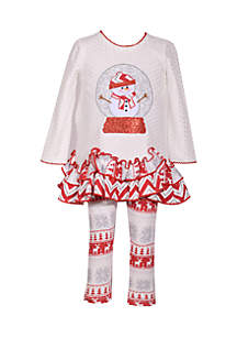 Toddler Girls Snow Globe Snowman Set