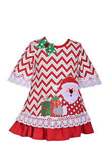 Toddler Girls Chevron Santa Dress