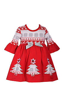 Toddler Girls Tree Applique Dress