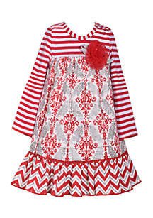 Toddler Girls Red Grey Mixed Media Dress