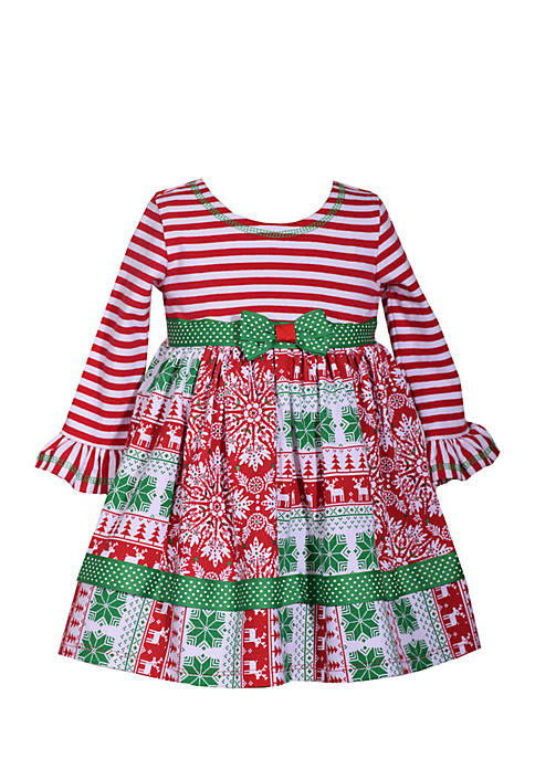 Bonnie Jean Toddler Girls Christmas Mixed Media Dress Belk