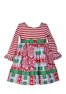 Toddler Girls Christmas Mixed Media Dress