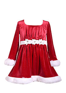 Toddler Girls Velvet Present Bow Santa Dress