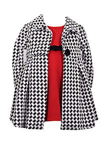 Toddler Girls Houndstooth Coat Dress