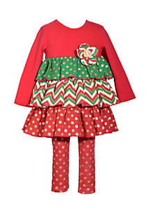 Toddler Girls Tiered Foil Red Green Set