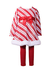 Toddler Girls Candy Cane Bow Set