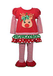 Toddler Girls Reindeer 2Fer Legging Set