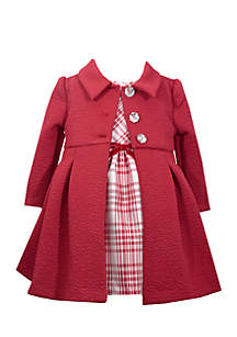 Girls 4-6x Textured Knit Coat and Dress