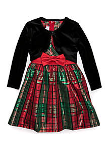 Toddler Girls Taffeta Bow Waist with Cardigan Dress Set