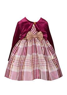 Toddler Girls Burgundy Cardigan Gold Bow Dress Set
