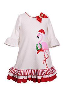 Toddler Girls Christmas Flamingo Dress