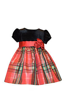 bonnie jean plaid christmas dress toddler girls