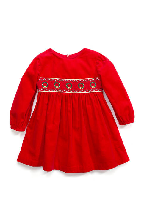 Bonnie Jean Toddler Girls Smocked Wreath Dress