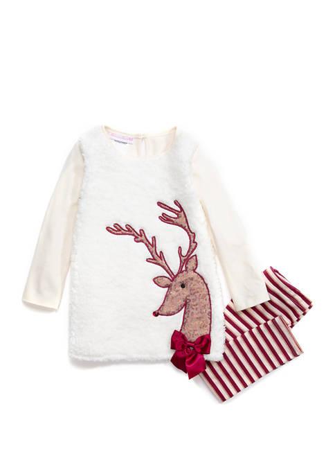 Bonnie Jean Toddler Girls Reindeer Legging Set