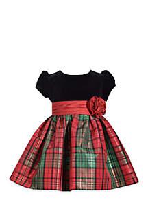 Infant Girls Velvet Plaid Dress