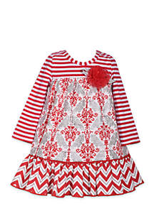Infant Girls Long Sleeve Flounce Dress