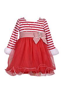 Baby Girls Red Stripe Mesh Dress