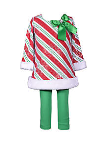 Baby Girls Red Green Stripe Set