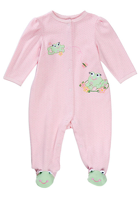 Little Me Baby Girls Frog Stretchie Jumpsuit