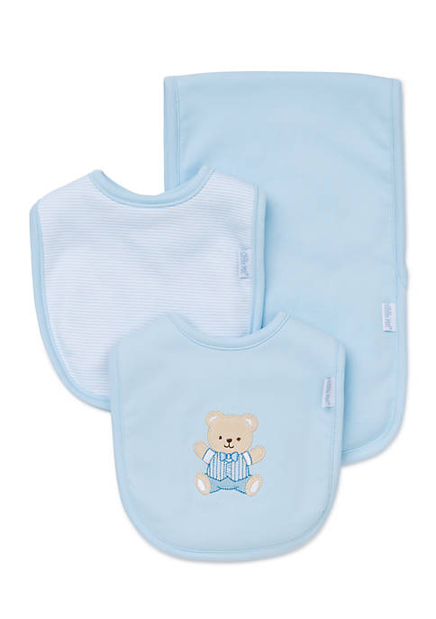 Little Me 3-Piece Cute Bear Bibs and Burp