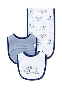 3-Piece Puppy Bibs and Burp Cloth Set