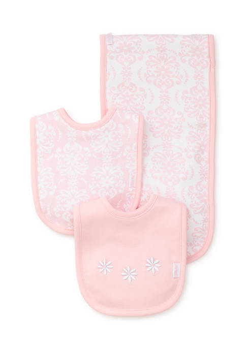 Little Me Baby Girls Patterned Bib and Burp