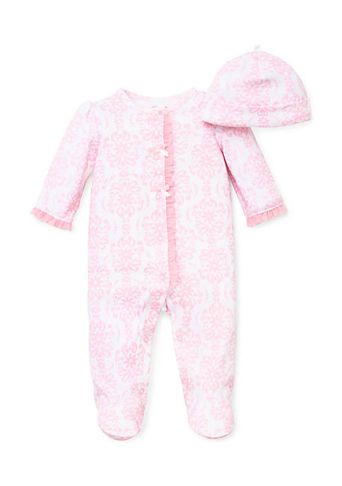 Little Me Baby Girls 2-Piece Pink Damask Footie