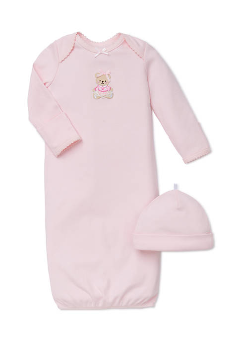 Little Me 2-Piece Bear Gown and Hat Set