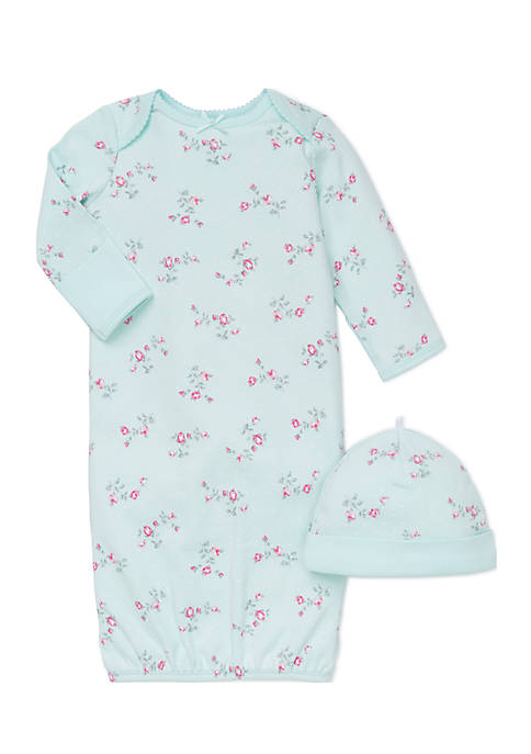 Little Me 2-Piece Floral Gown And Hat Set