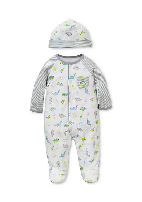 Little Me 2-Piece Dinosaur Footed Bodysuit with Hat