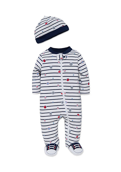 Little Me 2-Piece Sports Star Footie and Hat