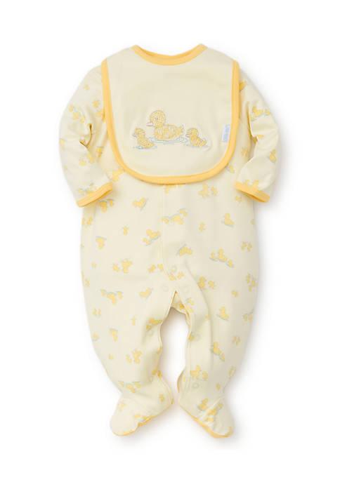 Little Me Little Ducks Footie with Bib- Infant