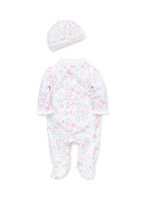 Little Me Baby Girls Watercolor Footie and Hat