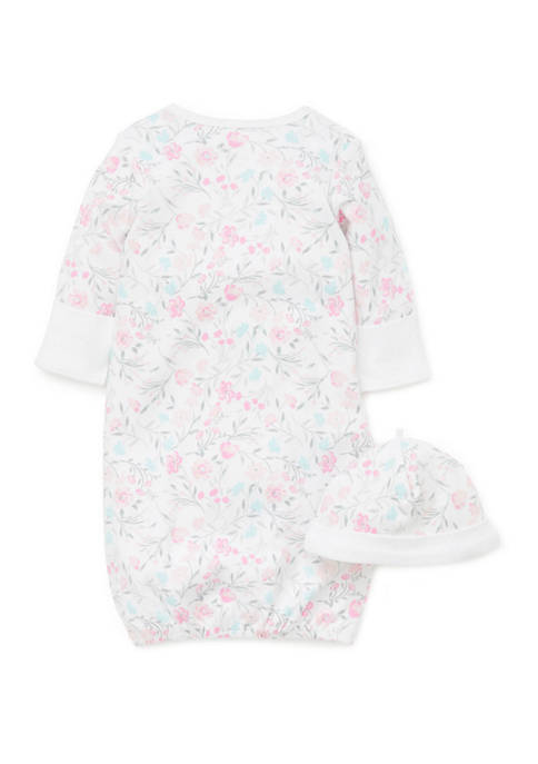 Baby Girls Watercolor Gown and Hat Set