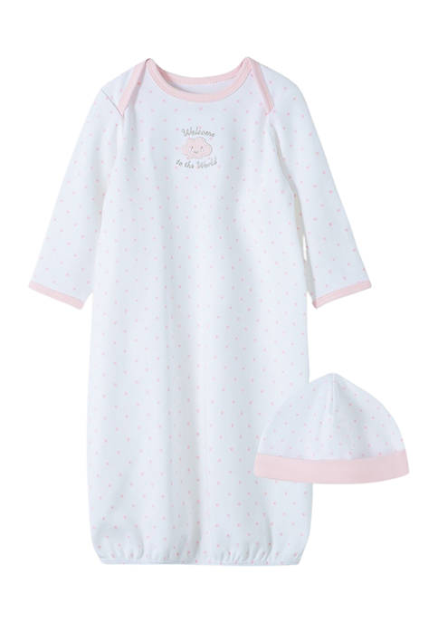 Little Me Baby Girls Cotton Gown and Cap