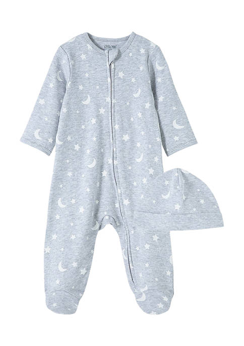 Little Me Baby Boys Cotton Footie and Hat