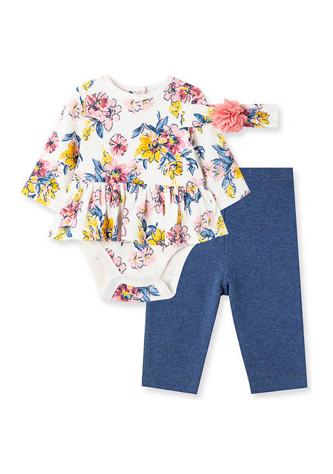 Little Me Baby Girls Floral Bodysuit and Pants