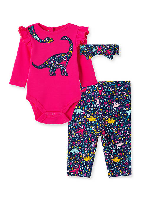 Little Me Baby Girls Dino Bodysuit Pant Set