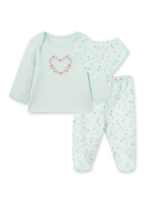 Little Me Baby Girls Floral Heart Bib Set