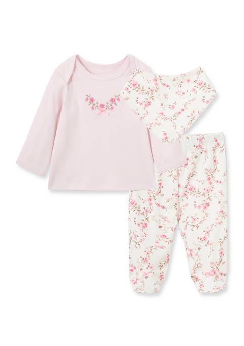Little Me Baby Girls Floral Bib Set