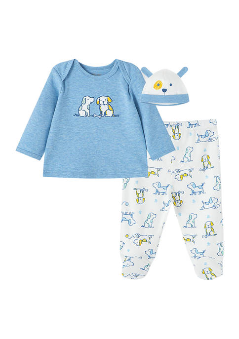 Little Me Baby Boys Puppies Set with Hat