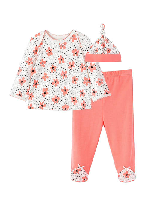 Little Me Baby Girls Floral Dot Set with