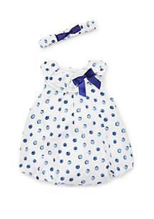 Little Me Baby Girls Blue Dot Bubble Dress