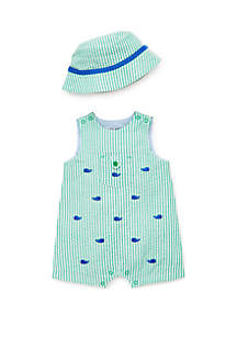Little Me Baby Boys Whale Sunsuit and Hat