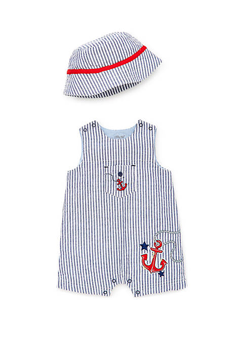 Baby Boys Anchor Sunsuit and Hat